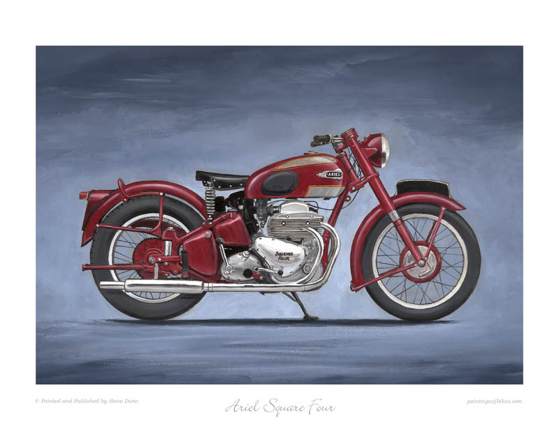 Ariel Square Four motorcycle art print