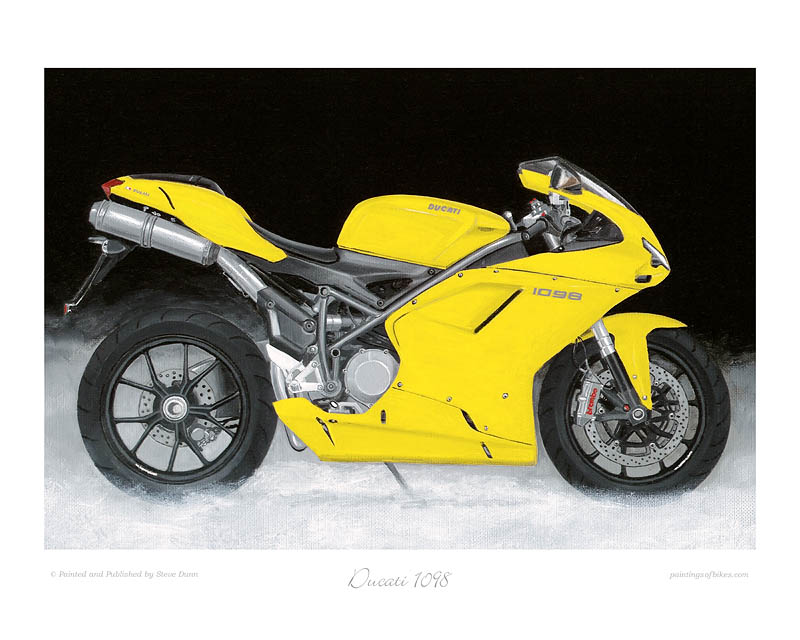Ducati 1098 yellow motorcycle art print