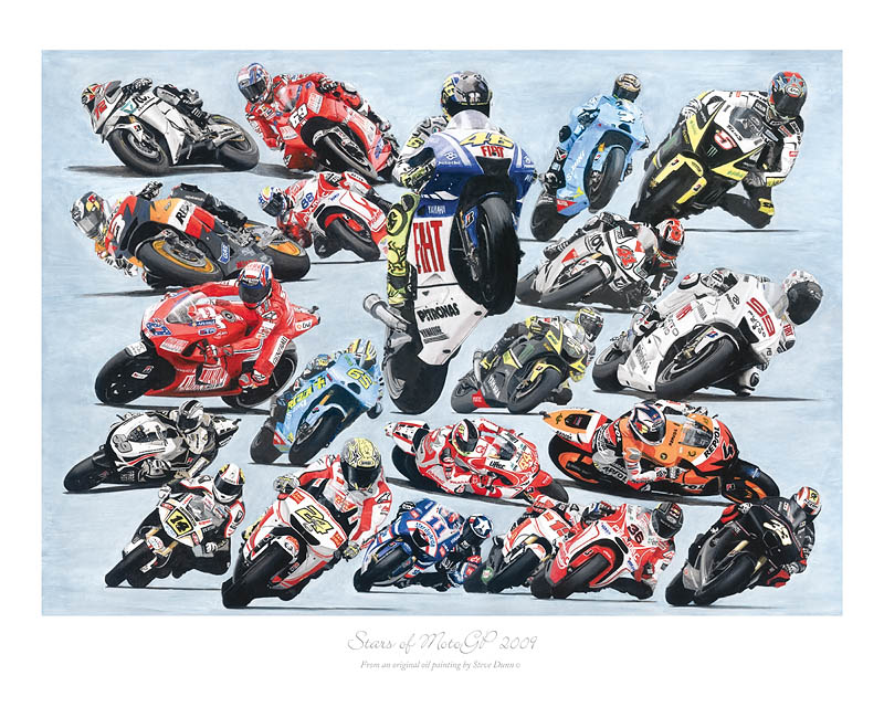 Stars of MotoGP 2009 motorcycle art print