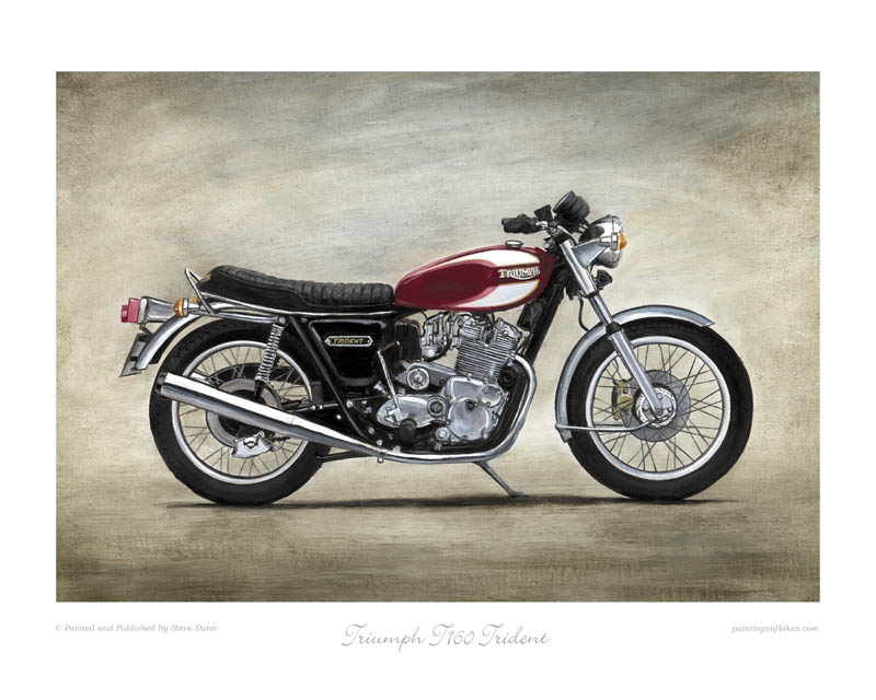 Triumph T160 Trident (red) motorcycle art print