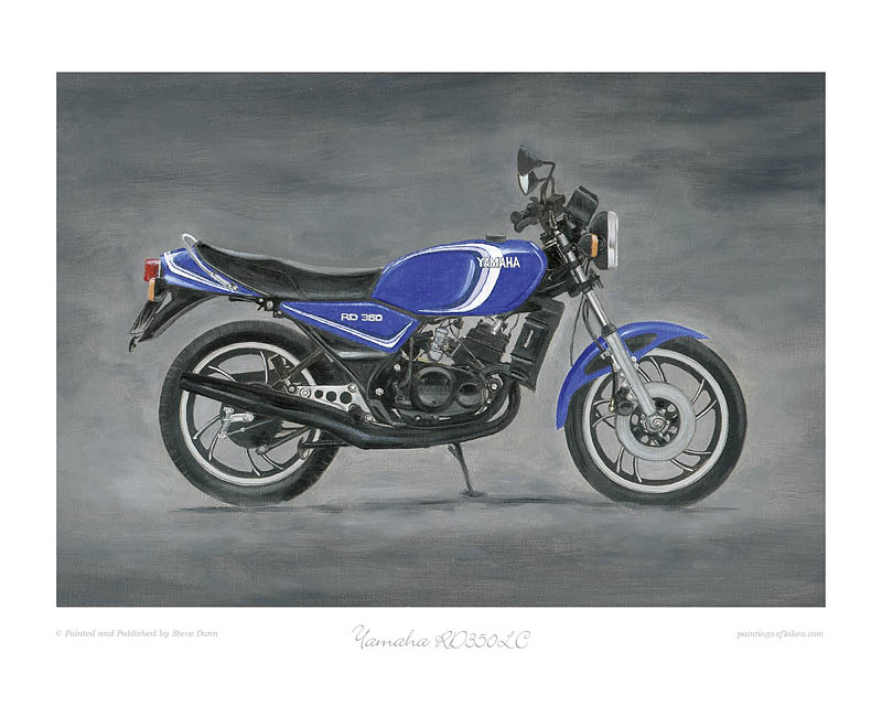 Yamaha RD350LC blue with 3 blue stripes art print